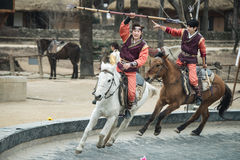 Participant a the Equestrian Feats act, South Korea Stock Photo
