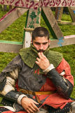 Participant of the festival in knight armor after  fights. Royalty Free Stock Photos