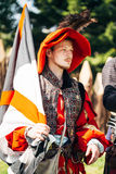 Participant of festival of medieval culture Our Grunwald Stock Images