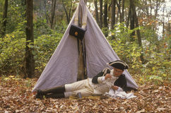 Participant in front of tent during Historical American Revolutionary war event, New Windsor, NY Royalty Free Stock Photography