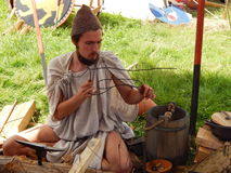 The participant of  the international festival  Times and epochs. Ancient Rome. This historical reenactment took place in a park- reserve Kolomenskoe, Moscow Stock Images