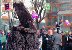 Participant in the Kukeri - Survakari Festival of the Masked games Royalty Free Stock Photo