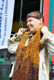 Participant of Lithuanian folkloric activities on Grand Place Royalty Free Stock Photography