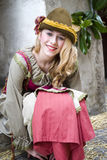 Participant of medieval costume party Royalty Free Stock Photo