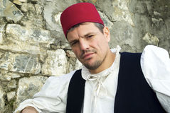 Participant of medieval costume party Royalty Free Stock Photography