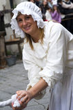 Participant of medieval costume party Stock Photos