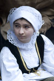 Participant of medieval costume party Royalty Free Stock Images