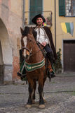Participant of medieval costume party Royalty Free Stock Image