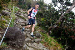 Participant running down Mt Kinabalu Royalty Free Stock Image