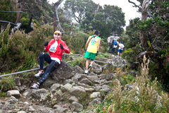 Participant running down Mt Kinabalu Stock Photography