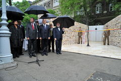 Participant(s) of the hungarian jewish labor serviceman and servicewoman monument investiture at April 17, 2009 in Budapest. Stock Image