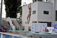 Participant(s) of the spring-board diving championship at July 02, 2009 in Budapest, Hungary. Royalty Free Stock Images