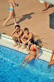 Participant(s) of the spring-board diving championship at July 02, 2009 in Budapest, Hungary. Stock Photo