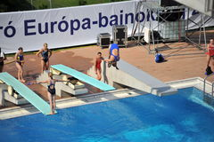 Participant(s) of the spring-board diving championship at July 02, 2009 in Budapest, Hungary. Royalty Free Stock Photos