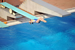 Participant(s) of the spring-board diving championship at July 02, 2009 in Budapest, Hungary. Stock Image