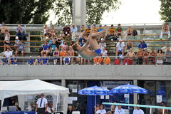 Participant(s) of the spring-board diving championship at July 02, 2009 in Budapest, Hungary. Royalty Free Stock Photography