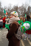 Participant with the sheep toy at the St. Patrick`s Day Parade Stock Image