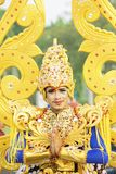 Participant smiling at the camera on parade. JEMBER - Indonesia. May 21, 2018: Participant smiling at the camera on parade in Jember Festival Carnaval Stock Photo