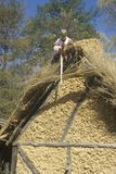 Participant working on thatched roof in historic Jamestown, Virginia, site of the first English Colony Stock Photography