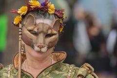 Participante con la máscara animal Fotografía de archivo