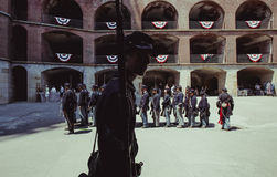 Participante de dia vivo da história da guerra civil Foto de Stock