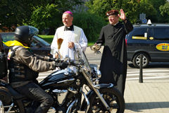 Participante de la 14ta reunión internacional de Katyn de la motocicleta fotografía de archivo