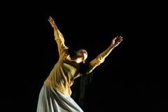 Participante del día de la danza del mundo de Surakarta Foto de archivo