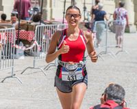 Participante del maratón 2018 en el ayuntamiento viejo - Regensburg, Alemania de Regensburg Imagen de archivo