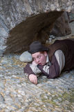 Participante del partido medieval del traje Imágenes de archivo libres de regalías