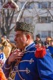 Participante no festival de Surva em Pernik, Bulgária Fotografia de Stock Royalty Free