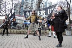 Participantes da celebração do dia do ` s de St Patrick em Moscou Foto de Stock