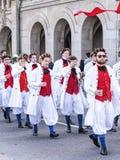 Participantes da parada de Sechselauten em Zurique Fotos de Stock Royalty Free