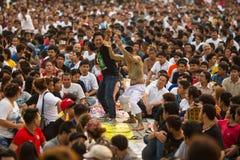 Participantes de la ceremonia principal del día en Khong capaz Khuen Foto de archivo