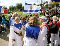 Participantes de la procesión de cristianos evangélicos en Jeru Imagenes de archivo