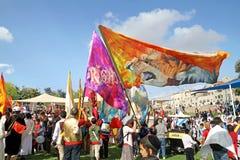 Participantes de la procesión de cristianos evangélicos en Jeru Imagen de archivo