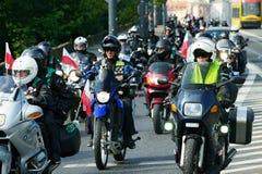 Participantes de la 14ta reunión internacional de Katyn de la motocicleta foto de archivo libre de regalías