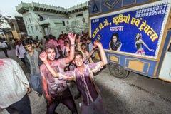 Participantes del festival de Holi de colores en Mandawa Fotografía de archivo