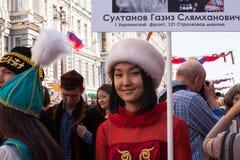 Participantes del regimiento inmortal - acción pública internacional, que ocurre en Rusia y algunos países de cerca Fotos de archivo libres de regalías
