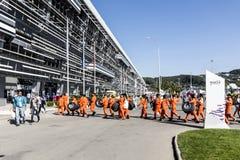 Participantes del ruso inaugural Grand Prix El esperar adentro Foto de archivo