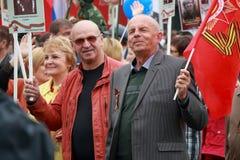 Participantes do regimento imortal do março Dia da vitória Pyatigorsk, Rússia Fotografia de Stock