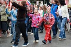 Participantes do regimento imortal do março Dia da vitória Pyatigorsk, Rússia Fotos de Stock