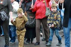 Participantes do regimento imortal do março Dia da vitória Pyatigorsk, Rússia Imagem de Stock