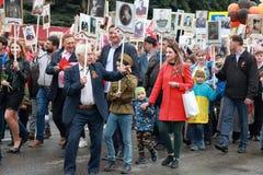 Participantes do regimento imortal do março em Pyatigorsk, Rússia Fotos de Stock Royalty Free