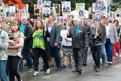 Participantes do regimento imortal do março em Pyatigorsk, Rússia Imagem de Stock Royalty Free