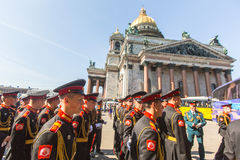 Participantes dos cadete da parada Victory Day do exército do russo - 9 de maio, cronometrados ao 71st aniversário da vitória no  Imagens de Stock Royalty Free
