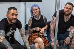 Participantes en el 10mo convenio internacional del tatuaje en centro de la Congreso-EXPO Fotos de archivo libres de regalías