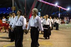 Participantes en la celebración del Año Nuevo lunar chino Imagen de archivo