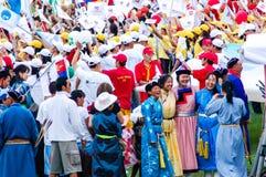 Participantes na cerimônia de inauguração de Nadaam Fotografia de Stock