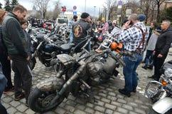 Participantes na procissão da motocicleta o 28 de março de 2015, Sófia, Bulgária Imagens de Stock Royalty Free