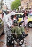 Participantes preparados não identificados na parada do zombi Imagens de Stock Royalty Free